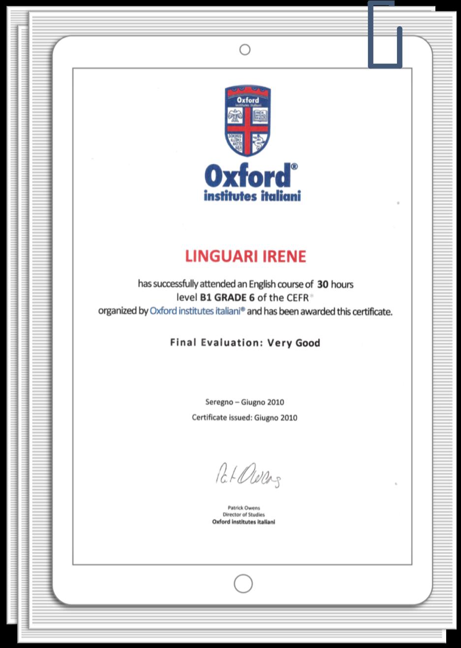 IreneLinguari_AssistenteDallaAallaZeta_About_Irene_02_Formazione_English_Oxford_Lev6_att