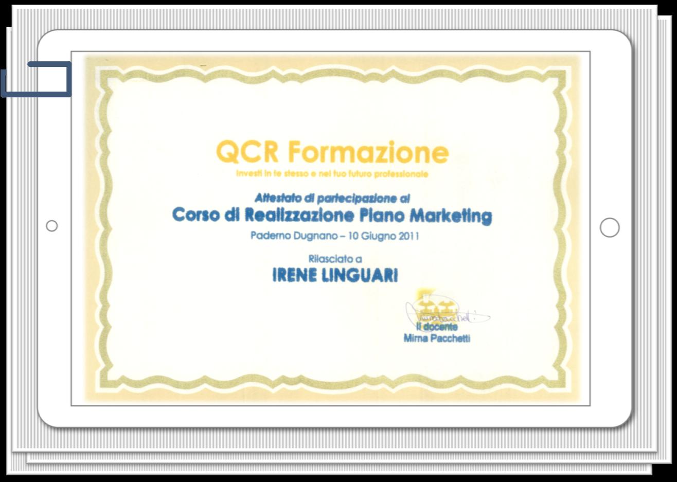 IreneLinguari_AssistenteDallaAallaZeta_About_Irene_02_Formazione_Marketing_PianoMarketing_Qcr_att