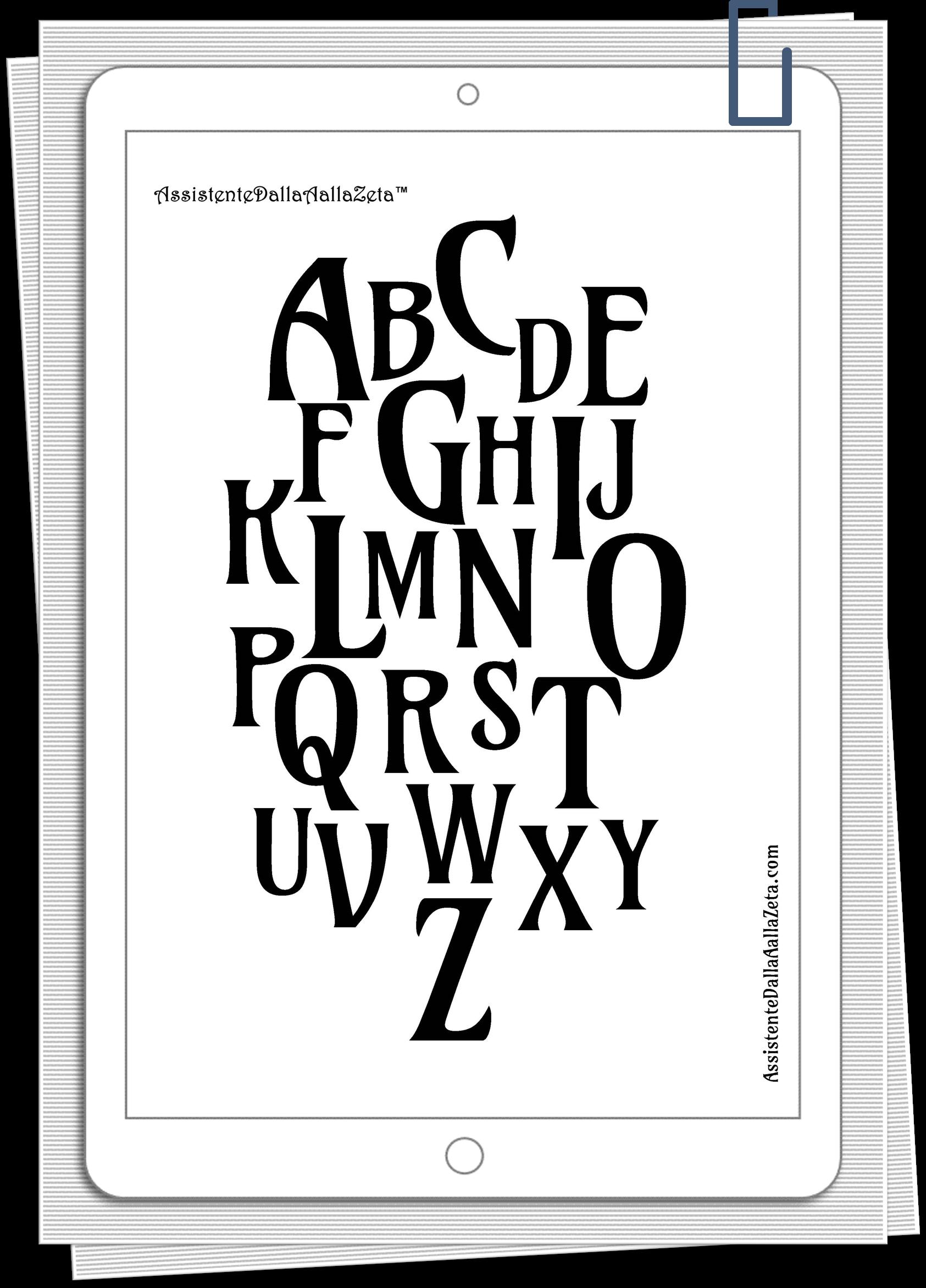 Irene Linguari AssistenteDallaAallaZeta Stampe Grafiche Decor Poster Alfabeto scaricabile gratuitamente Assistente Dalla A alla Zeta