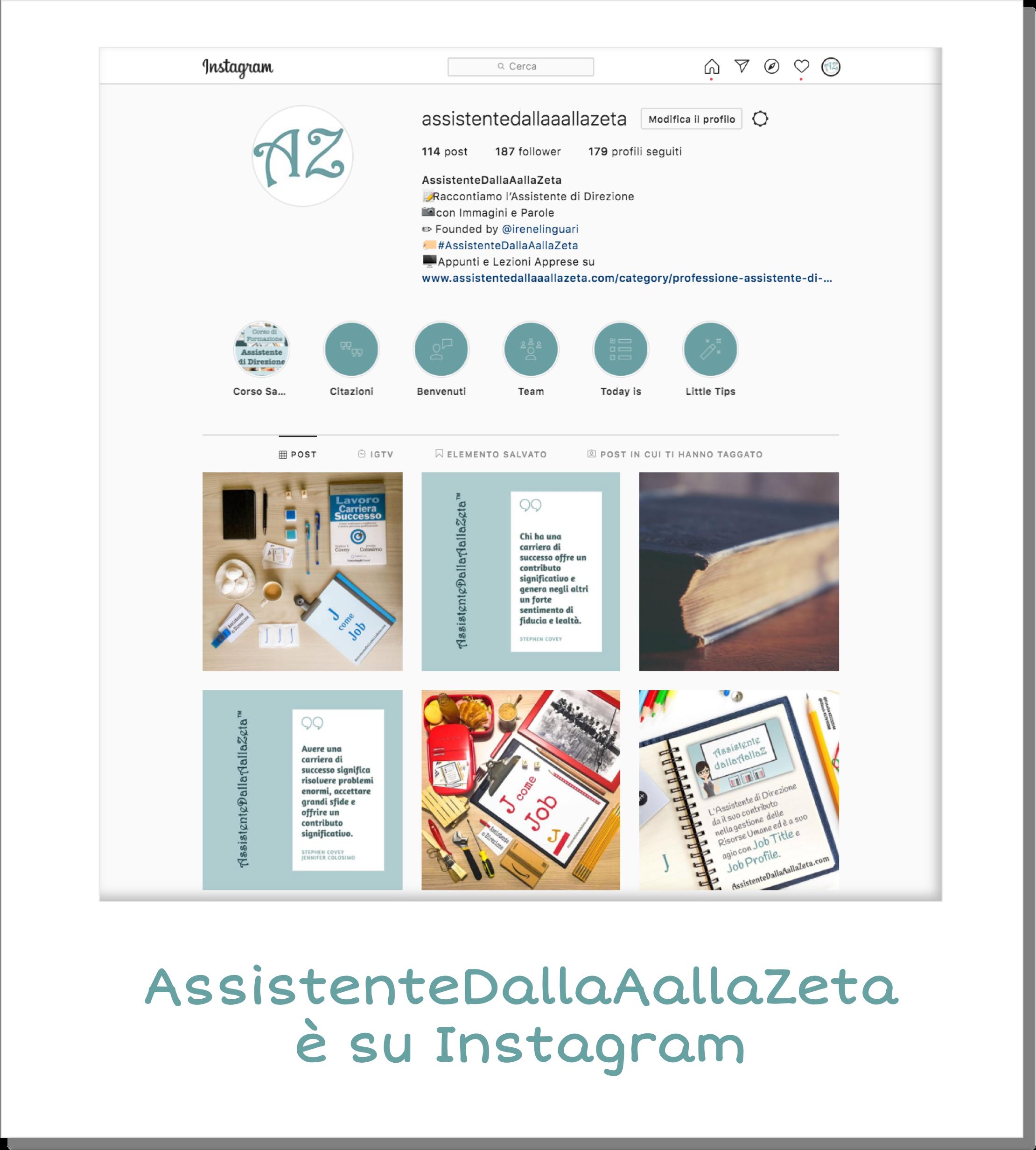 AssistenteDallaAallaZeta Parole Chiave Assistente di Direzione Instagram Assistente Dalla A alla Zeta